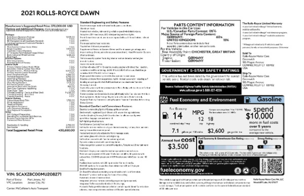 New 2021 Rolls-Royce Dawn for sale Call for price at Rolls-Royce Motor Cars Greenwich in Greenwich CT 06830 9