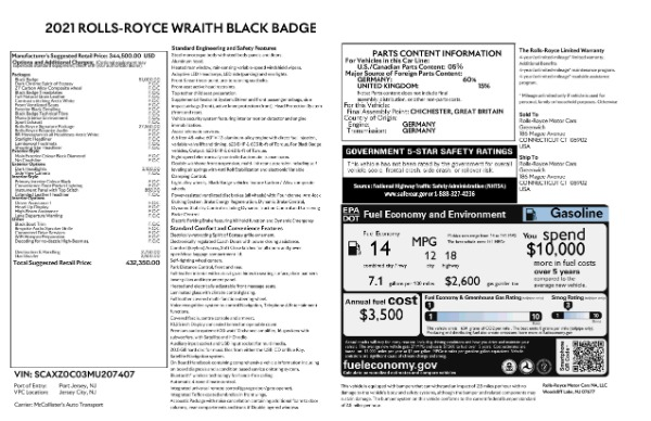 New 2021 Rolls-Royce Wraith Black Badge for sale Call for price at Rolls-Royce Motor Cars Greenwich in Greenwich CT 06830 9