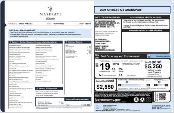 New 2021 Maserati Ghibli S Q4 GranSport for sale $100,635 at Rolls-Royce Motor Cars Greenwich in Greenwich CT 06830 20