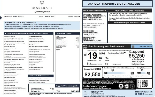 New 2021 Maserati Quattroporte S Q4 GranLusso for sale $129,135 at Rolls-Royce Motor Cars Greenwich in Greenwich CT 06830 27