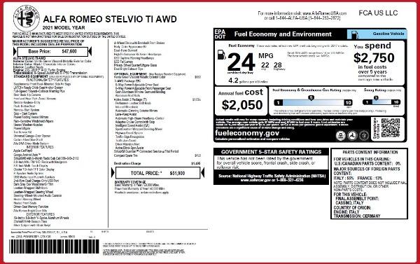 New 2021 Alfa Romeo Stelvio Ti Q4 for sale $51,900 at Rolls-Royce Motor Cars Greenwich in Greenwich CT 06830 2