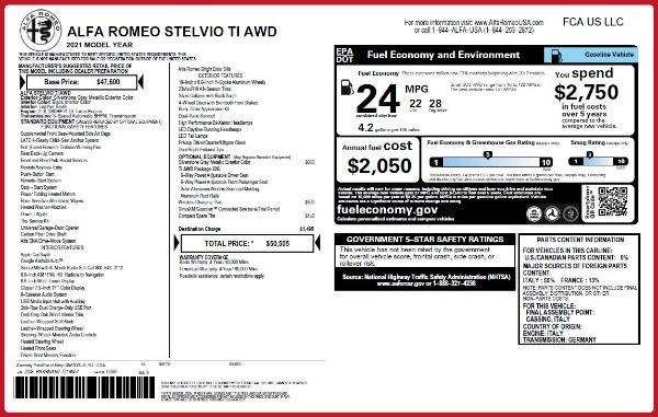 New 2021 Alfa Romeo Stelvio Ti Q4 for sale $50,505 at Rolls-Royce Motor Cars Greenwich in Greenwich CT 06830 20