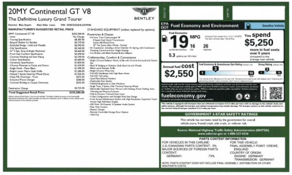 New 2020 Bentley Continental GT V8 for sale $255,080 at Rolls-Royce Motor Cars Greenwich in Greenwich CT 06830 28