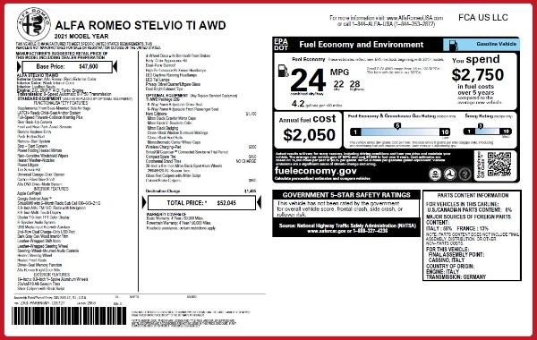 New 2021 Alfa Romeo Stelvio Ti Q4 for sale $52,045 at Rolls-Royce Motor Cars Greenwich in Greenwich CT 06830 2