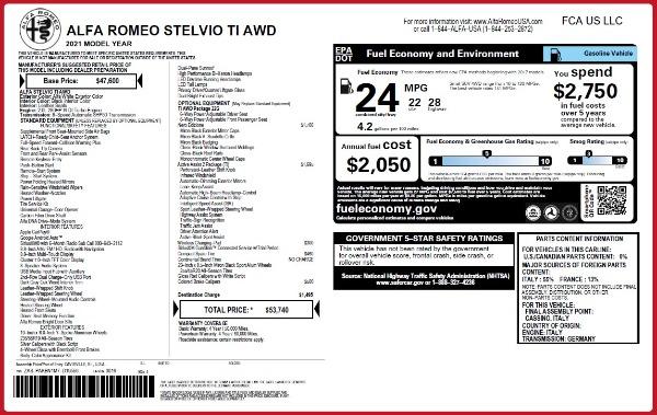 New 2021 Alfa Romeo Stelvio Ti Q4 for sale $53,740 at Rolls-Royce Motor Cars Greenwich in Greenwich CT 06830 2