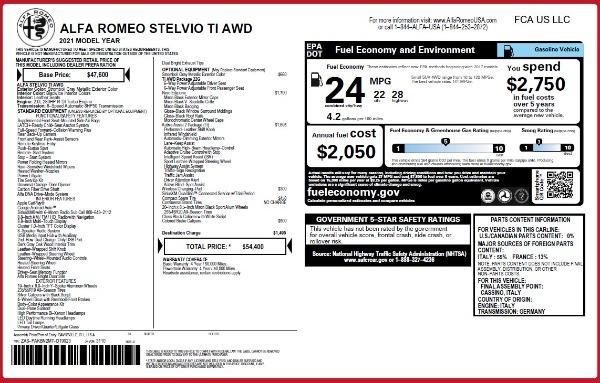 New 2021 Alfa Romeo Stelvio Ti Q4 for sale $54,400 at Rolls-Royce Motor Cars Greenwich in Greenwich CT 06830 26