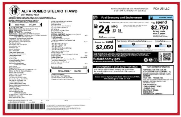 New 2021 Alfa Romeo Stelvio Ti for sale $52,705 at Rolls-Royce Motor Cars Greenwich in Greenwich CT 06830 2