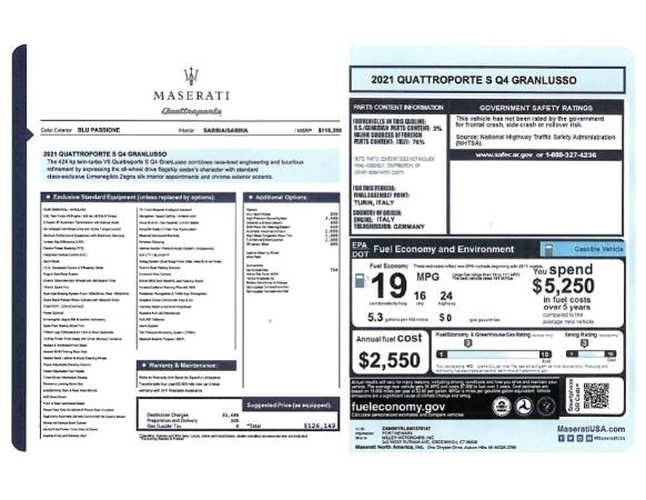 New 2021 Maserati Quattroporte S Q4 GranLusso for sale $126,149 at Rolls-Royce Motor Cars Greenwich in Greenwich CT 06830 24