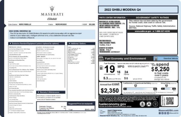 New 2022 Maserati Ghibli Modena Q4 for sale $103,855 at Rolls-Royce Motor Cars Greenwich in Greenwich CT 06830 19